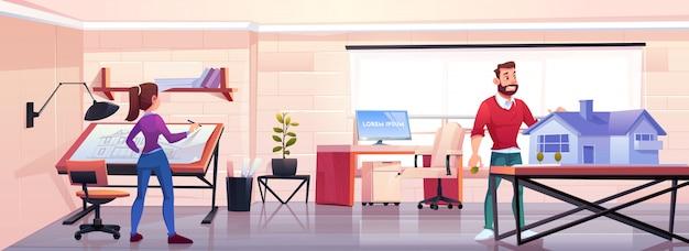 Architecten werken op kantoor