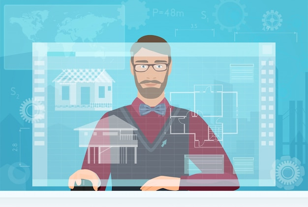 Architectenbouwer die virtuele werkruimteinterface gebruiken