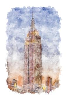 Architectonisch gebouw aquarel schets met de hand getekend