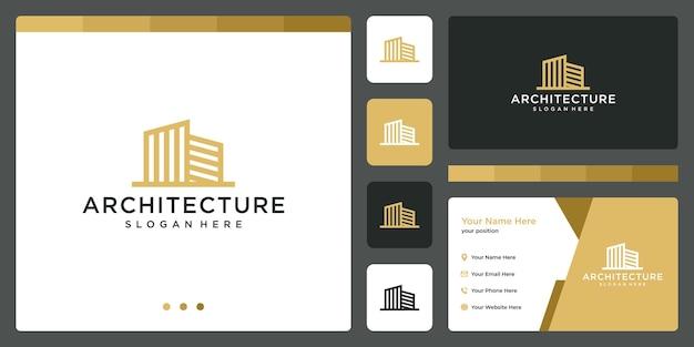 Architectonisch gebouw logo met onroerend goed logo ontwerpsjabloon. visitekaartje.