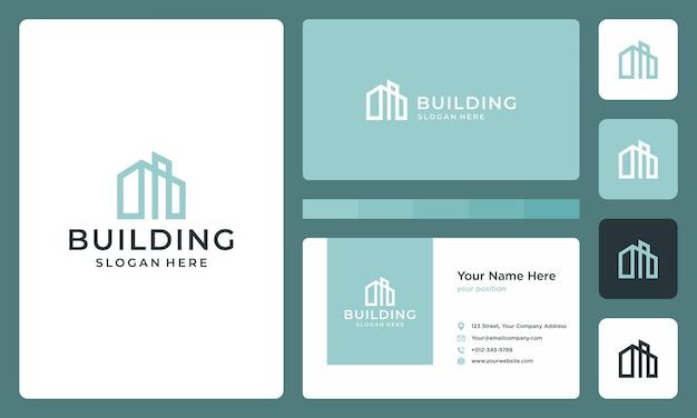 Architectonisch gebouw logo. premium vectoren. visitekaartje ontwerp.