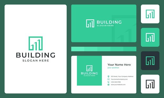 Architectonisch gebouw met dooslogo. visitekaartje ontwerp.
