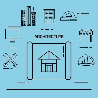 Architectonische ontwerpset pictogrammen