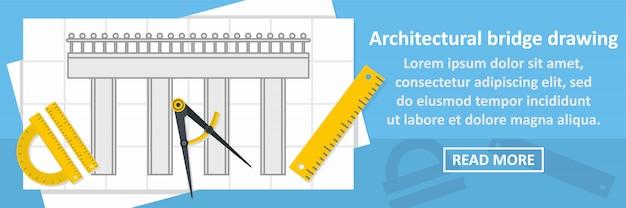 Architecturaal de banner horizontaal concept van de brugtekening