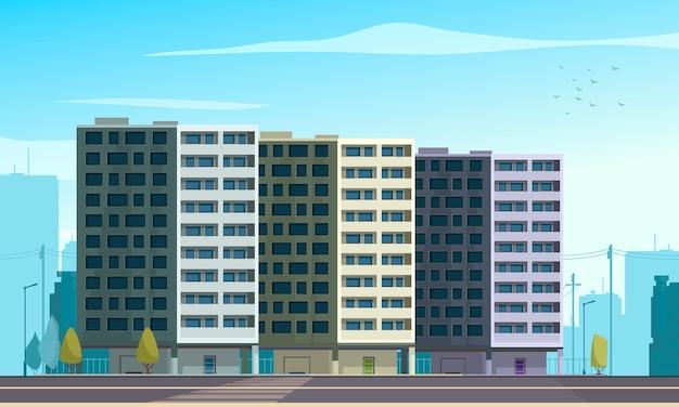 Architecturaal stijlevolutiebeeld van moderne stedelijke woonhuisvesting flatblokken 3 betonnen gebouwen met meerdere verdiepingen illustratie