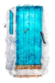 Architectural door aquarel blauwe deur aquarel poster