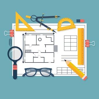 Architecturale blauwdrukken en tekengereedschappen