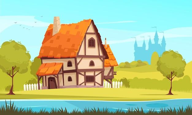 Architecturale evolutie cartoon afbeelding van middeleeuws huisje in de voorsteden omgeven door de natuur met kasteel silhouet op illustratie