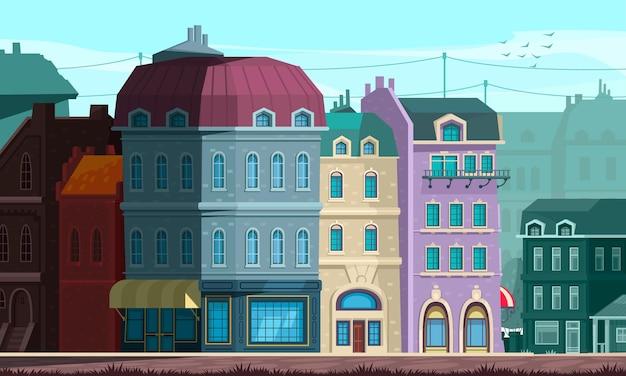 Architecturale evolutie gerenoveerde openbare gebouwen in neoklassieke stijl met koepeldaken die woonhuizen opleggen straathoekillustratie