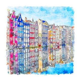 Architectuur amsterdam nederland aquarel handgetekende illustratie