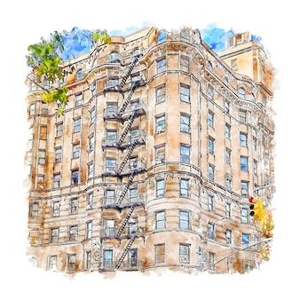 Architectuur appartement huis aquarel schets hand getrokken illustratie