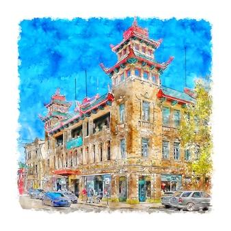 Architectuur chinatown aquarel hand getekende illustratie
