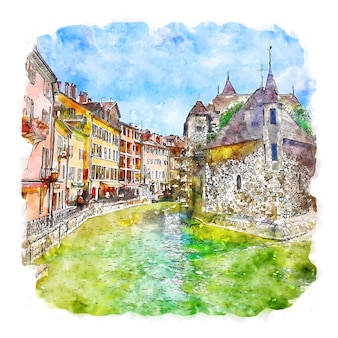 Architectuur dorp frankrijk aquarel schets hand getekende illustratie