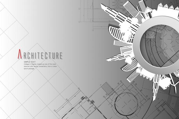Architectuur en blauwdruk background.paper kunststijl.