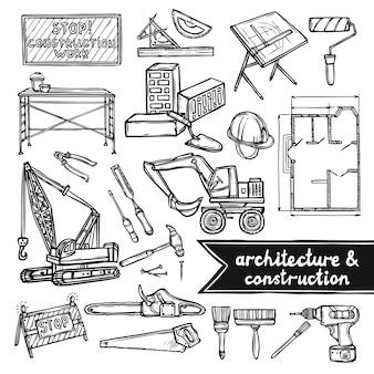 Architectuur en constructie pictogrammen