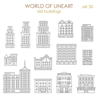 Architectuur historische oude gebouwen al lijntekeningen stijlenset