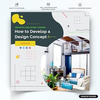 Architectuur instagram post webbanner sjabloon vector premium vector