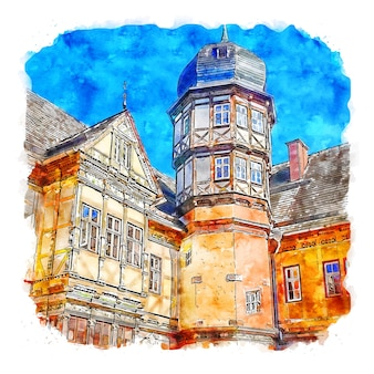 Architectuur kasteel duitsland aquarel schets hand getekende illustratie