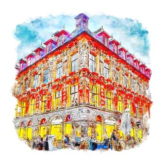 Architectuur lille frankrijk aquarel schets hand getrokken illustratie