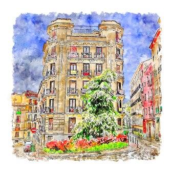 Architectuur madrid spanje aquarel schets hand getekende illustratie