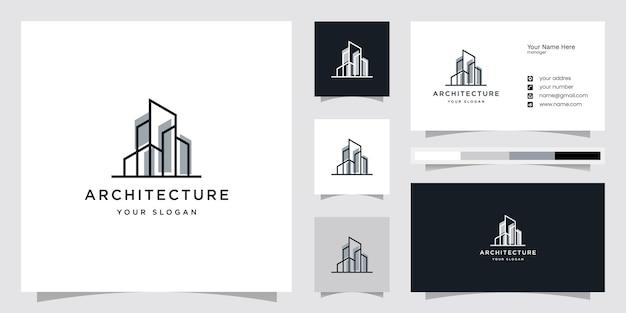 Architectuur met lijnconcept, logo-ontwerpinspiratie en sjablonen voor visitekaartjes