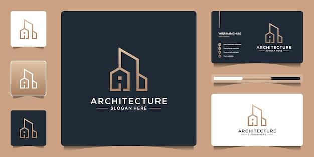 Architectuur onroerend goed logo elegante eenvoudige lijntekeningen en visitekaartjes sjabloon