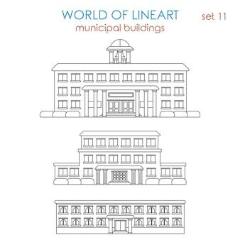 Architectuur openbare gemeentelijke overheid school universiteit college bibliotheek politiebureau ziekenhuis gebouw al lijntekeningen stijlenset.