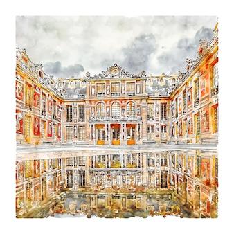 Architectuur parijs frankrijk aquarel schets hand getekende illustratie