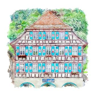 Architectuur schiltach duitsland aquarel schets hand getrokken illustratie