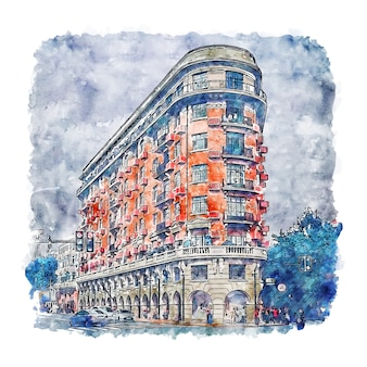 Architectuur shanghai china aquarel schets hand getrokken illustratie