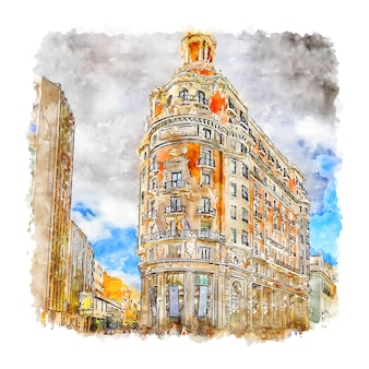 Architectuur valencia aquarel schets hand getrokken illustratie
