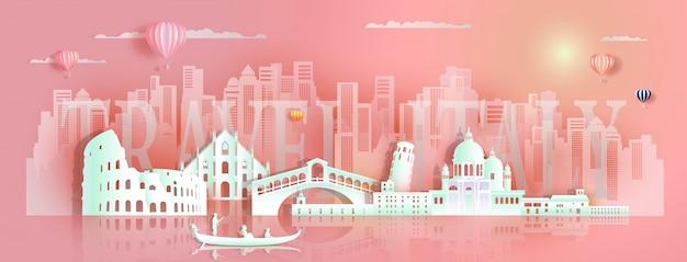 Architectuur van europa van reis de beroemde oriëntatiepunten door gondel