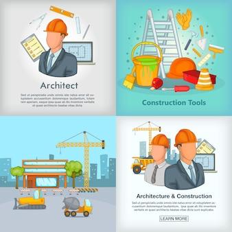 Architectuurbanner in beeldverhaalstijl voor om het even welk ontwerp wordt geplaatst dat
