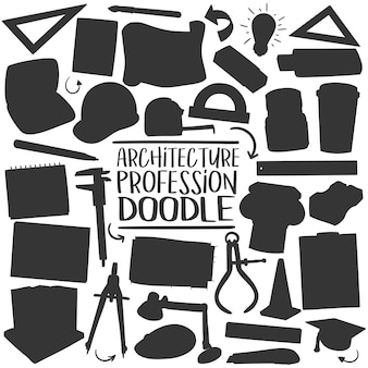 Architectuurberoepen doodle silhouette vector clip art