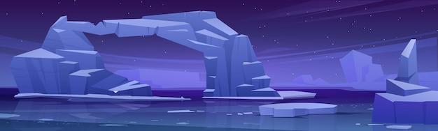 Arctisch landschap met smeltende ijsberg en gletsjers in zee 's nachts