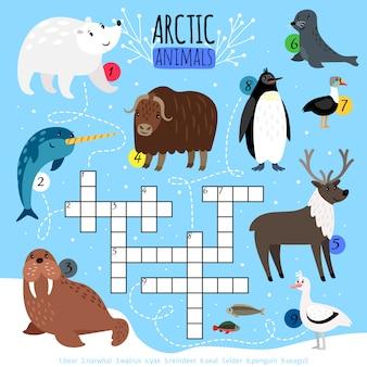 Arctische dieren kruiswoordpuzzel