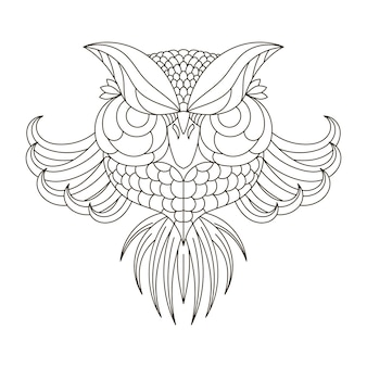 Arend uil. vogels. zwart witte hand getrokken doodle. etnische patroon vectorillustratie. afrikaans, indiaas, totem, tribal, design. schets voor volwassen anti-stressprogramma kleurplaat, tatoeage, poster print t-shirt