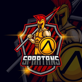 Ares spartaanse esport logo sjabloon vectorillustratie
