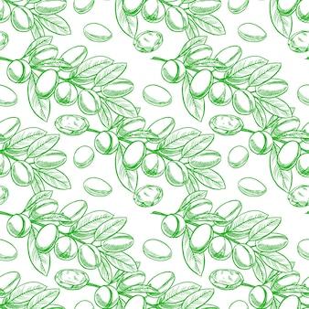 Argan boomtakken met fruit naadloze patroon