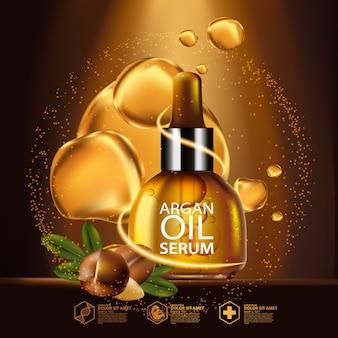 Arganolie serum en achtergrond concept skin care cosmetic