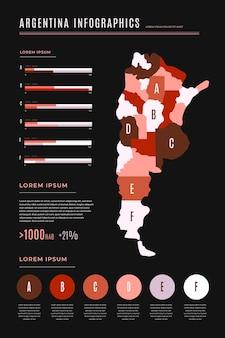 Argentinië kaart infographic in plat ontwerp