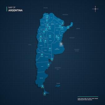 Argentinië kaart met blauwe neonlichtpunten