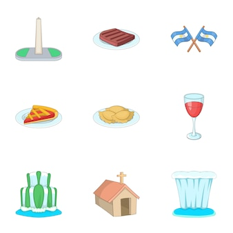 Argentinië reizen iconen set, cartoon stijl