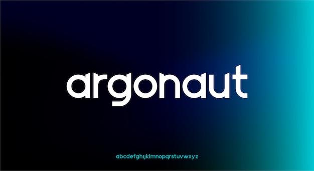 Argonaut, een futuristisch alfabetlettertype in kleine letters met technologiethema. modern minimalistisch typografieontwerp