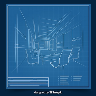 Arhitectural 3d blauwdruk van een gebouw