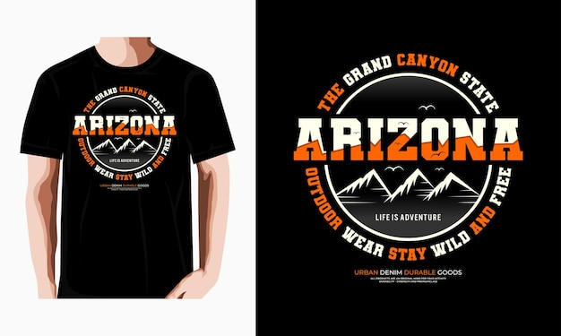 Arizona typografie tshirt ontwerp premium vector premium vector