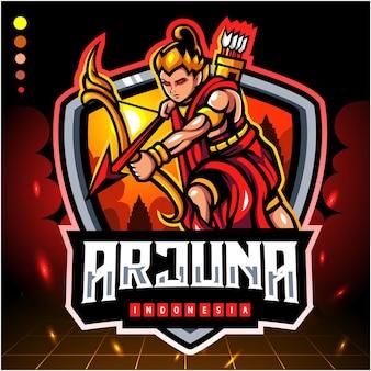 Arjuna van de mascotte van indonesië. esport logo ontwerp