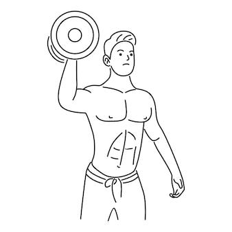 Arm, biceps, sterke hand met een halter