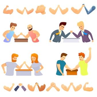 Arm worstelen iconen set, cartoon stijl