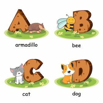Armadillo bee cat dog houten alfabet dieren